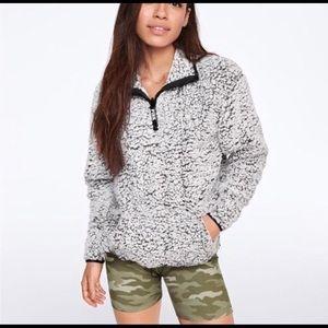 Gray Marl Half Zip Sherpa
